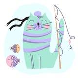 KOTA FISHER kreskówki ilustracji Śmieszny Wektorowy set ilustracja wektor