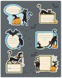 6 kota Halloween etykietek ilustracja wektor