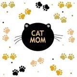 Kota i łapy druki czarni i złoty barwiony biały tło Macierzysty ` s dnia `` kot mamy teksta `` kartka z pozdrowieniami Obraz Stock
