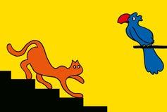 Kota i papugi kreskówka Zdjęcie Stock