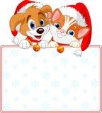Kota i psa bożenarodzeniowy znak Zdjęcia Royalty Free