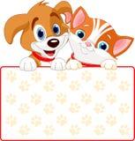 Kota i psa znak Zdjęcia Royalty Free
