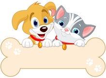 Kota i psa znak ilustracja wektor