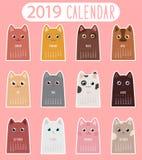 Kota kalendarz 2019 ilustracja wektor