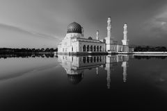 Kota Kinabalu city mosque in black and white, Sabah, Malaysia Stock Photo