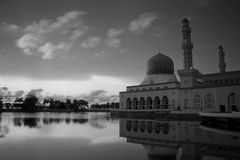 Kota Kinabalu city mosque in black and white, Sabah, Malaysia, Borneo Stock Photo