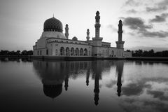 Kota Kinabalu city mosque in black and white, Sabah, Malaysia, Borneo Stock Images