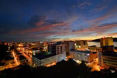 KOTA KINABALU CITY. Kota Kinabalu is the capital of Malaysia's Sabah state in the northern part of the island of Borneo. Often referred to as KK, it stock images