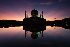 Kota Kinabalu mosque at dawn in Sabah, Borneo Royalty Free Stock Image