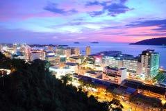Kota Kinabalu skyline. Kota Kinabalu Night scenery during sunset, Kota Kinabalu is the capital city of the state of Sabah, located in East Malaysia Stock Images