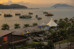 Kota Kinabalu Waterfront at Dawn Royalty Free Stock Photo