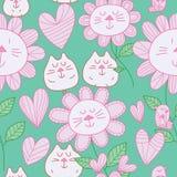 Kota kwiatu kota pastelowego koloru ptasi bezszwowy wzór royalty ilustracja