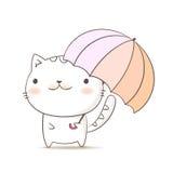 Kota mienia parasol Śliczna figlarki kreskówka Ręka remisu doodle styl tworzy wektorem Obraz Royalty Free