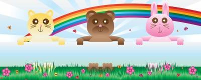 Kota niedźwiedzia królika chwyta sztandar naturalny ilustracja wektor