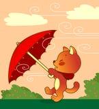 kota parasol ilustracji