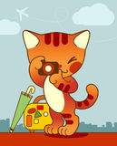 kota podróżnik ilustracja wektor