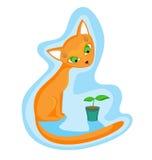 kota rośliny czerwień ilustracji