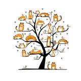 Kota rodzinny drzewo dla twój projekta Zdjęcia Royalty Free