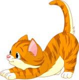 kota rozciąganie śliczny włosiany czerwony ilustracja wektor