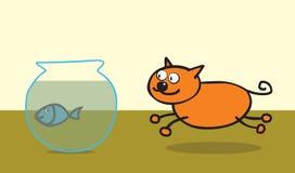 kota szczęśliwy rybi jak ilustracji