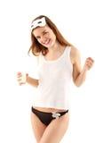 kota target57_0_ dziewczyny maski mleka nastolatek Zdjęcia Stock