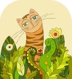 kota trawy głowa Zdjęcia Royalty Free