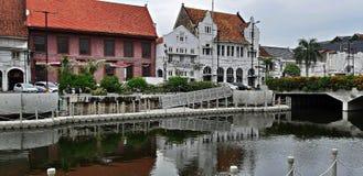 Kota Tua River norr Jakarta - Indonesien royaltyfri bild