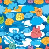 Kota zen chmury stylu bezszwowy wzór ilustracji