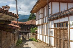Houses of the nineteenth century in historical town of Kotel, Sliven Region, Bulgaria. KOTEL, BULGARIA - AUGUST 1, 2014: Houses of the nineteenth century in royalty free stock images