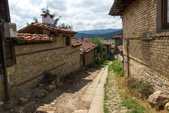 Houses of the nineteenth century in historical town of Kotel, Sliven Region, Bulgaria. KOTEL, BULGARIA - AUGUST 1, 2014: Houses of the nineteenth century in stock photo