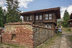 Houses of the nineteenth century in historical town of Kotel, Sliven Region, Bulgaria Royalty Free Stock Photo