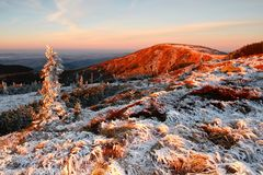 Kotel mountain. Sunrise in Giant mountains with Kotel mountain in Czech republic stock image