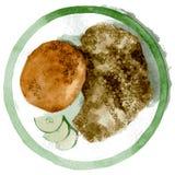 Kotelet en boekweit met komkommer op een plaat met een groene grens Waterverfillustratie op witte achtergrond wordt geïsoleerd di royalty-vrije stock foto's