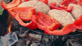 Kotelet van gebraden vlees bij de grill met Bulgaarse rode paprika stock footage