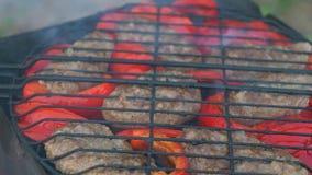 Kotelet van gebraden vlees bij de grill met Bulgaarse rode paprika stock videobeelden