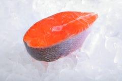 Kotelett der atlantischen Lachse auf Eis Stockfoto