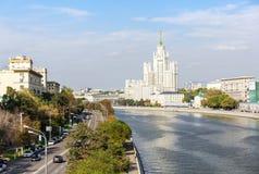 Kotelnicheskaya bulwar i Moskwa rzeka Obraz Stock