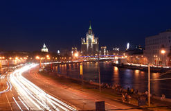 Kotelnicheskaya Embankment Building at night, Moscow, Russia Royalty Free Stock Images