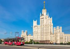 Kotelnicheskaya Embankment Building and tramway Stock Images