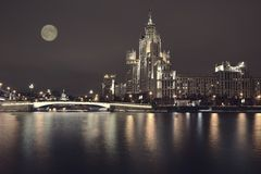 Kotelnicheskaya Embankment of the Moscow River, Moscow. Royalty Free Stock Photography