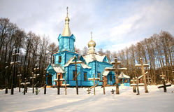 Koterka, blue Orthodox Church in Poland by winter. Royalty Free Stock Images
