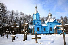 Koterka, blue Orthodox Church in Poland by winter. Royalty Free Stock Photography