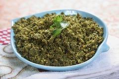 Kothamalli Podi, polvo de Corriander, salsa picante del kothmir foto de archivo libre de regalías