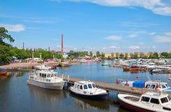 Kotka. Finland. Boats in Sapokka Bay Stock Photography