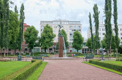 Kotka. Finland. Fountain in Sibelius Park Stock Photos