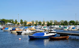 KOTKA, FINLAND. The parking of boats and yachts in the gulf Sapokka Stock Photos