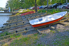 KOTKA, FINLAND. Slip for descent of boats to the gulf Sapokka. KOTKA, FINLAND - JULY 12, 2014: Slip for descent of boats to the gulf Sapokka Royalty Free Stock Photo