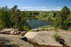 Kotka, Finlandia - jardim da água de Sapokka foto de stock