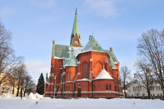 Kotka, Finlandia. Luterańska katedra w zimie obraz royalty free