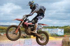 Kotkov Nikita 175. SERPUKHOV, RUSSIA - OCTOBER 7, 2017: Kotkov Nikita 175,  Class Super-sprint absolute, in the 4 stage  MX series, the Red Wings Cup 2017 super Royalty Free Stock Photography